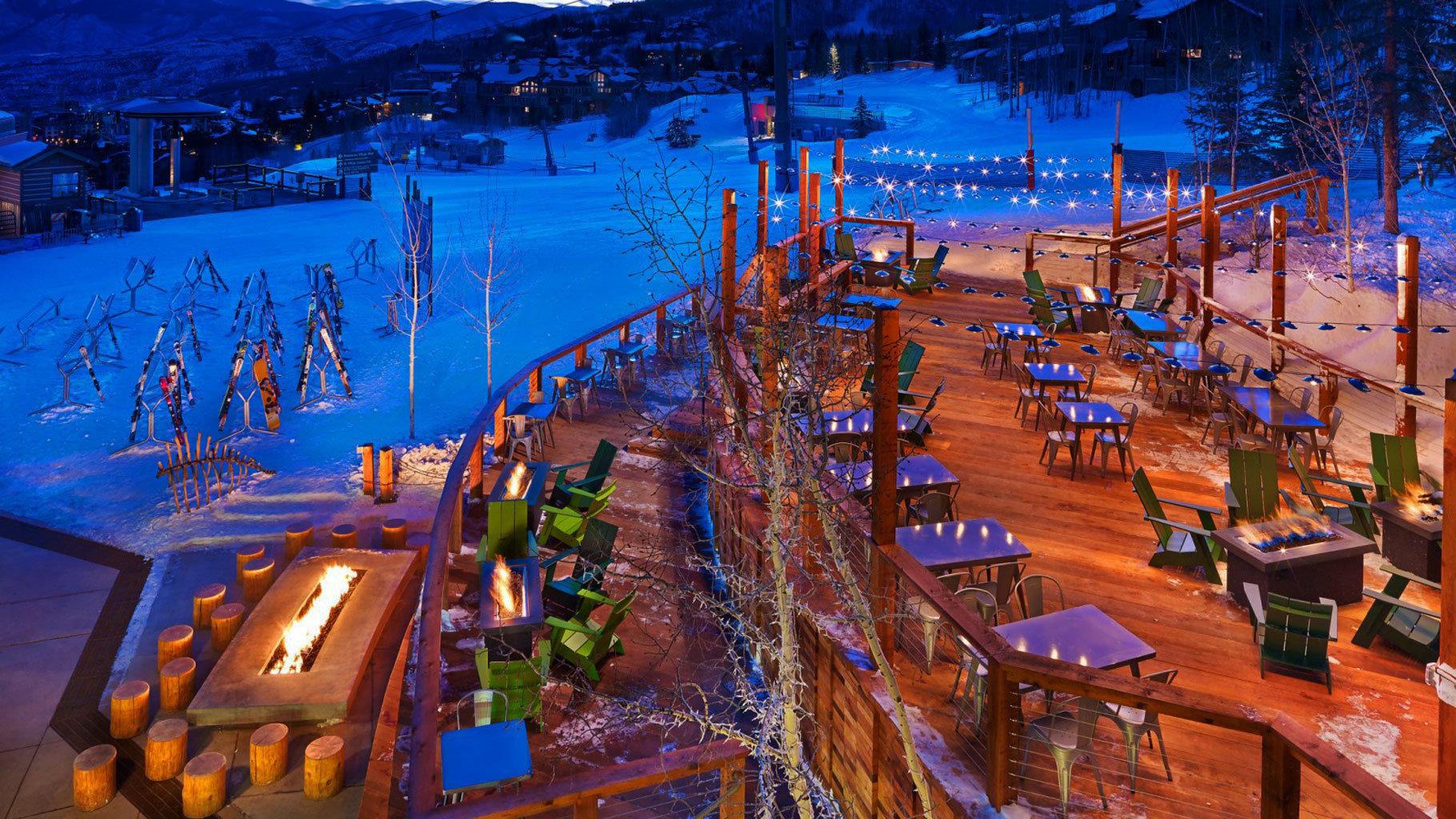 scene night Town Resort evening Winter Harbor cityscape amusement park dock