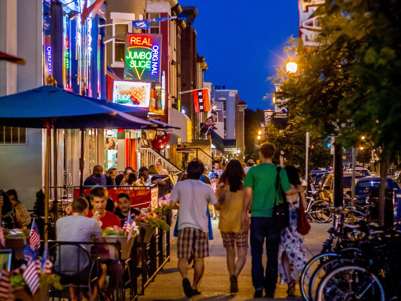 Food + Drink outdoor road Town City street night urban area neighbourhood human settlement evening Downtown tourism infrastructure several crowd