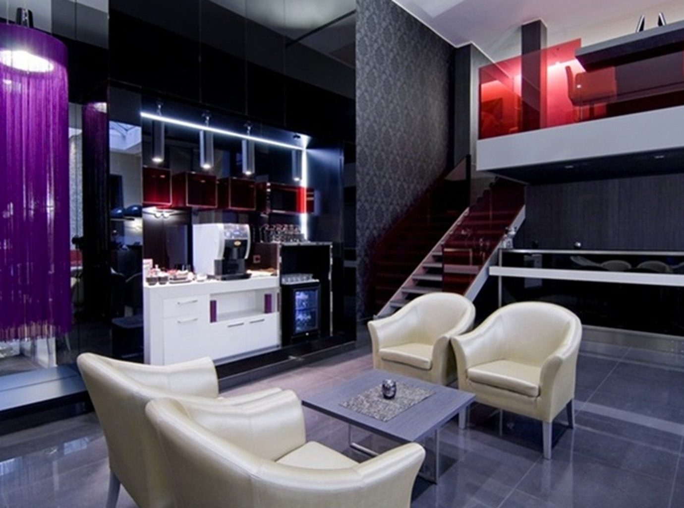Hip Historic Kitchen Lobby Lounge Modern living room