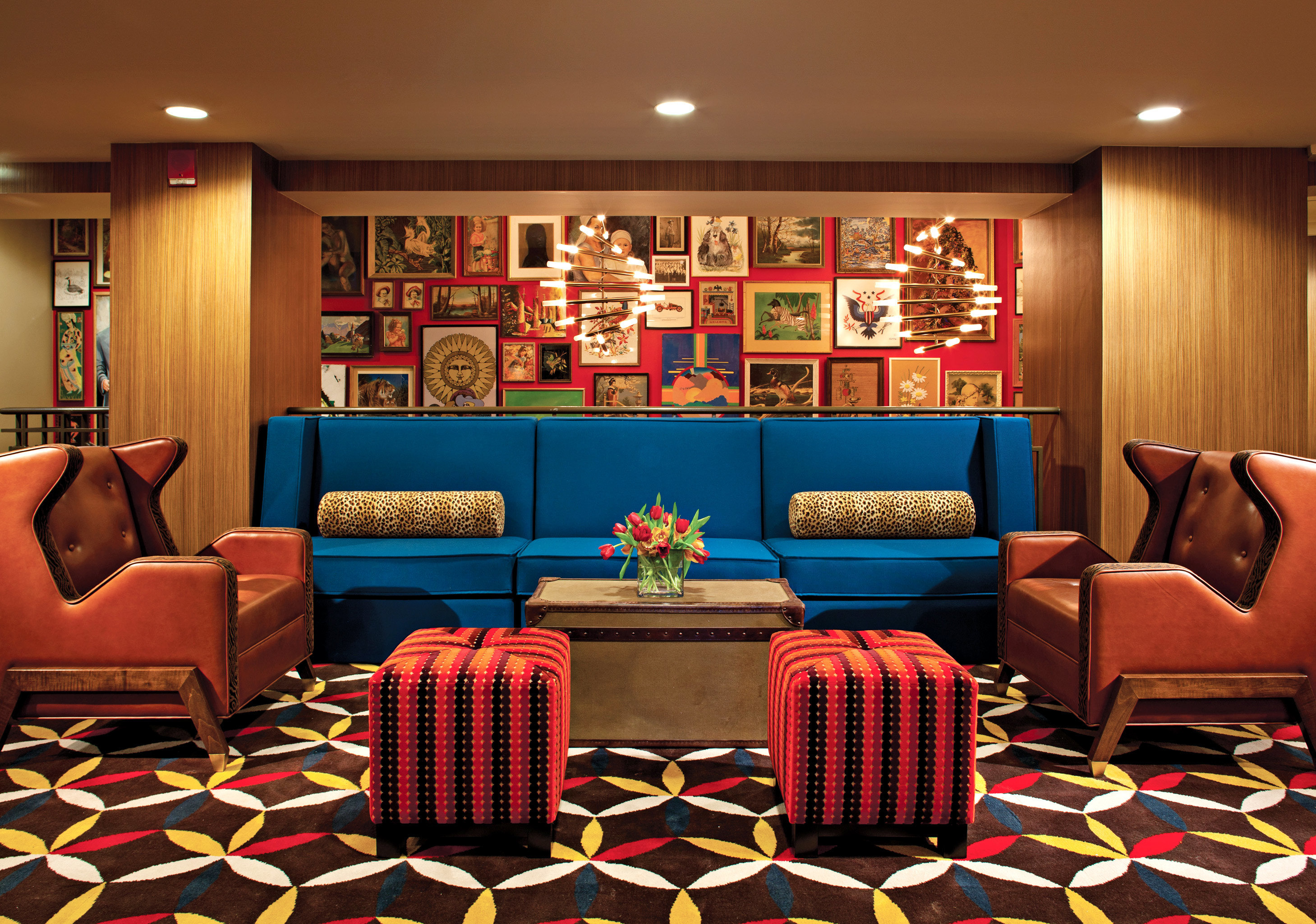 Hip Historic Lounge Modern living room Lobby recreation room colorful