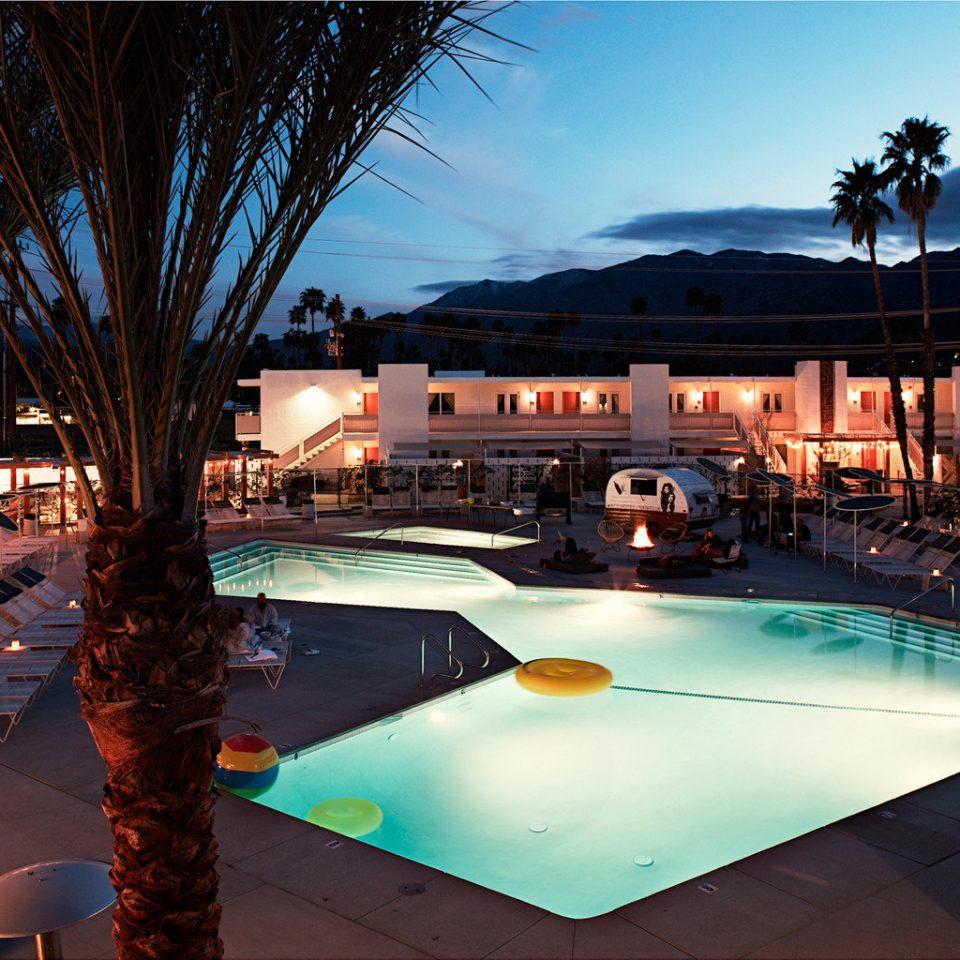 Hip Hotels Luxury Modern Pool leisure swimming pool Resort evening light