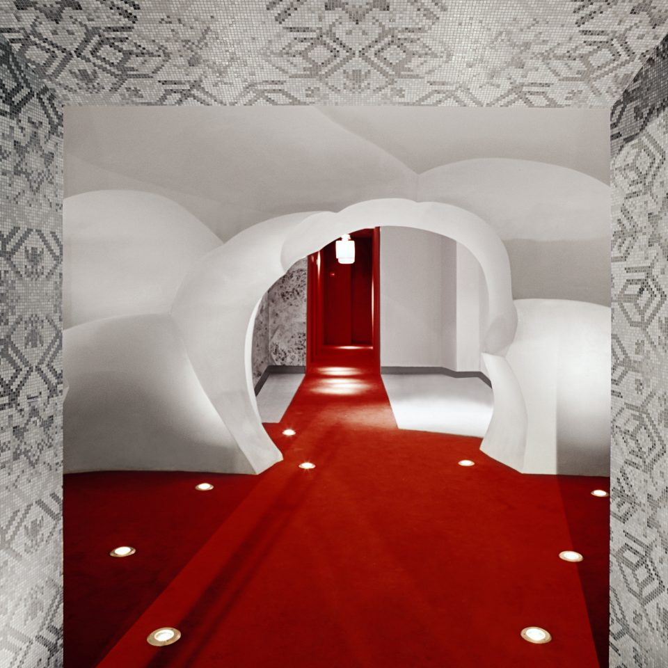 Hip Lobby red white flooring lighting wallpaper colored