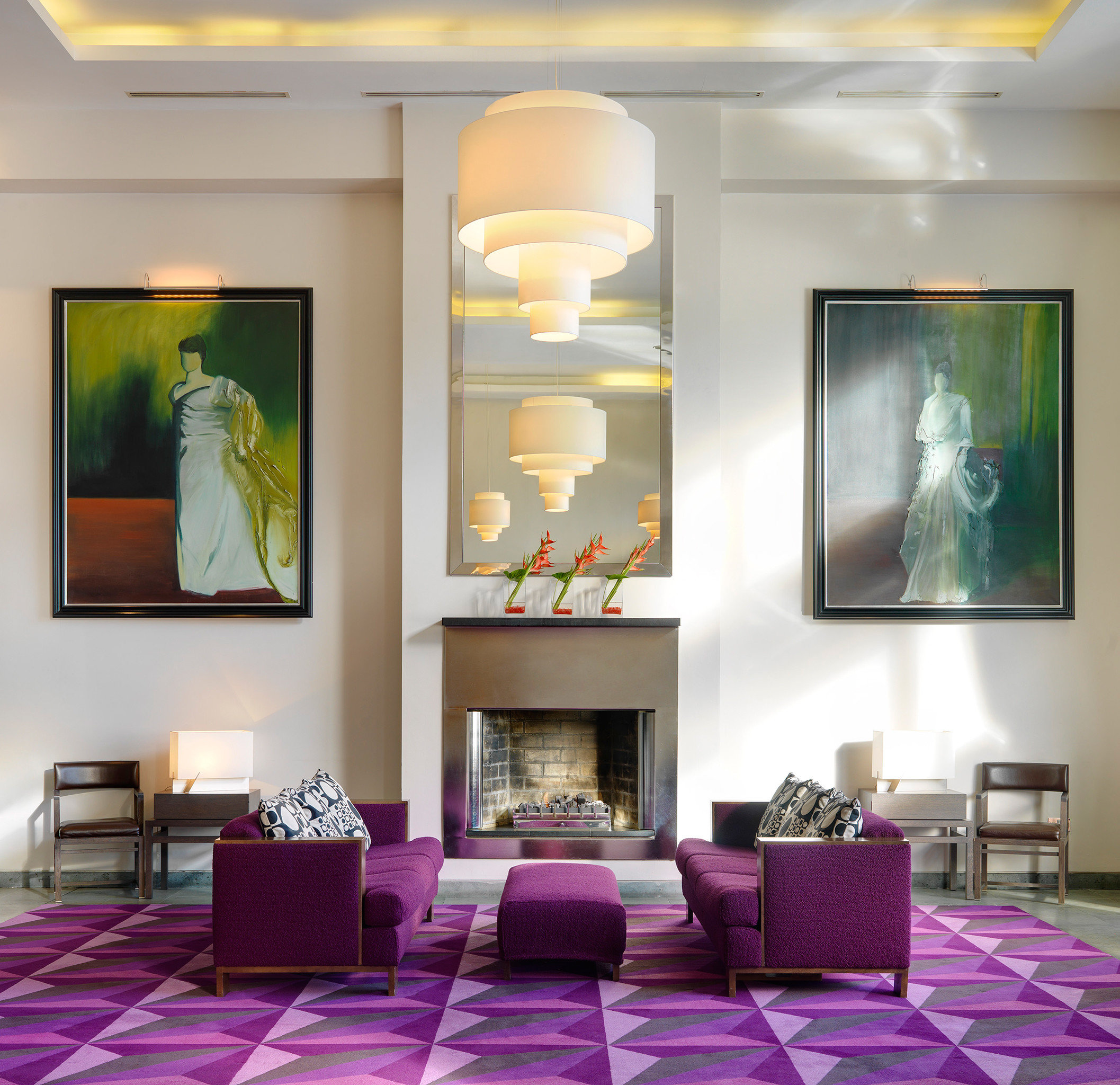 Hip Lounge purple living room modern art home pink Lobby painted colored