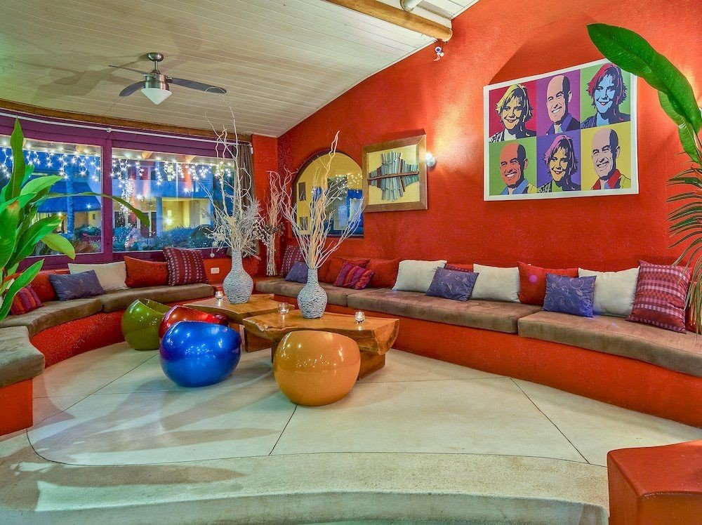 Hip Lounge Luxury Modern color property mural orange living room Play colorful recreation room Resort painting colored painted
