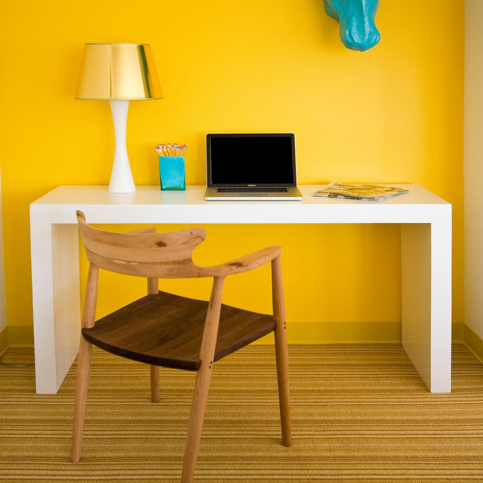 Hip Lounge Luxury Modern yellow desk hardwood living room home flooring shelf office lamp colored
