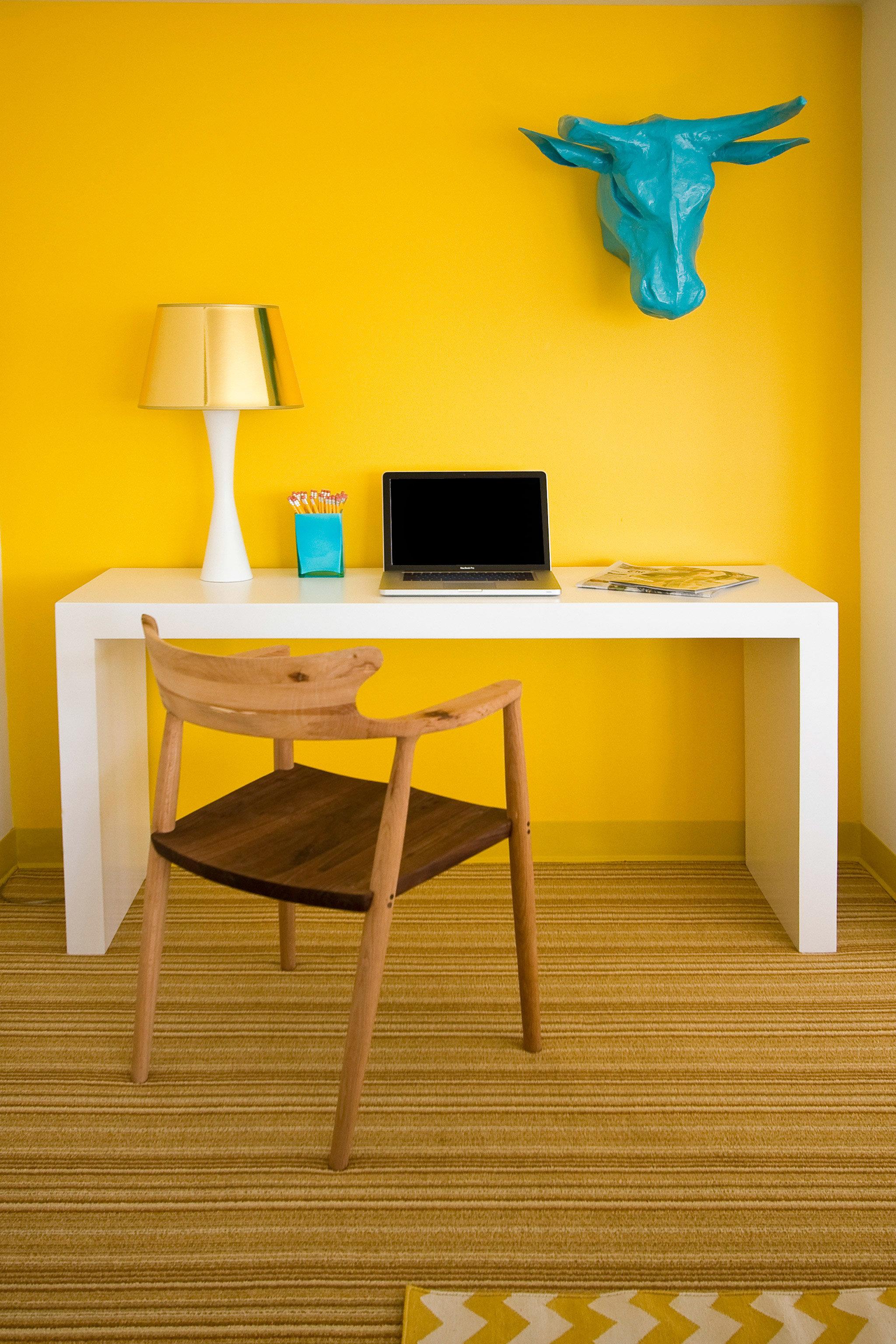 Hip Lounge Luxury Modern yellow desk hardwood living room home flooring shelf office lamp colored