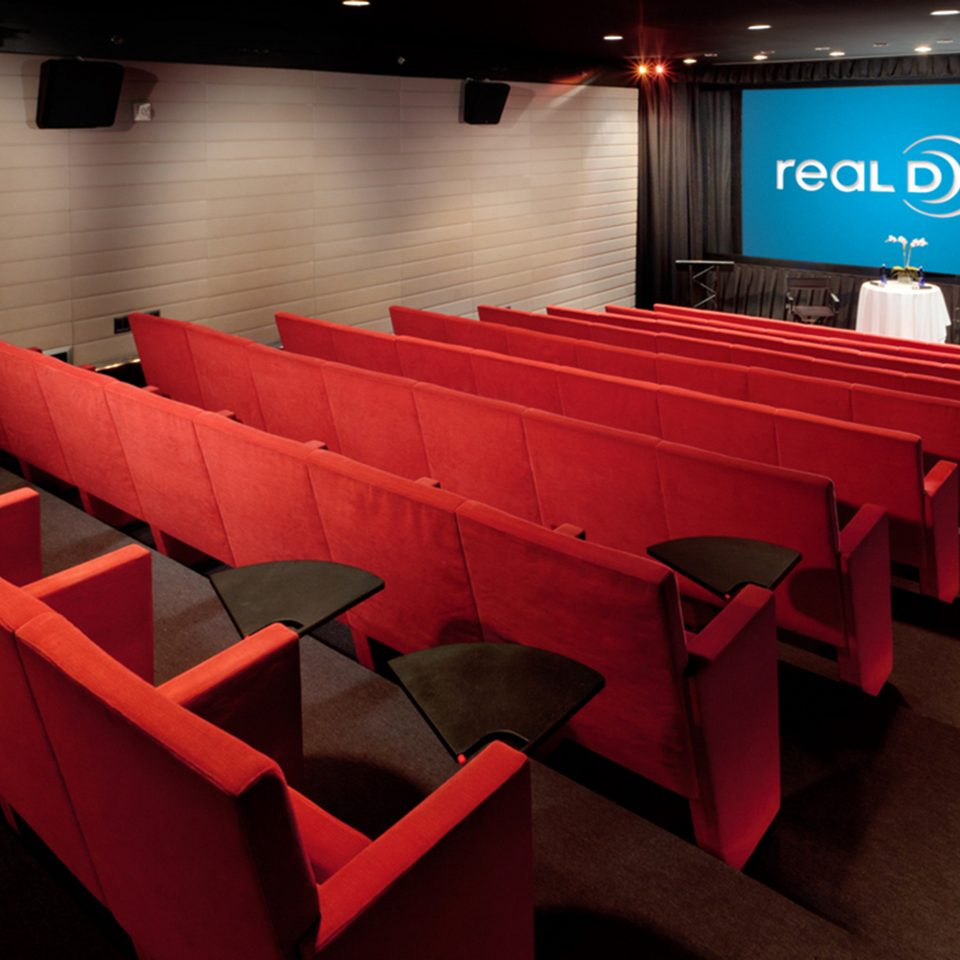 Hip Lounge Luxury Modern red auditorium conference hall movie theater theatre colored