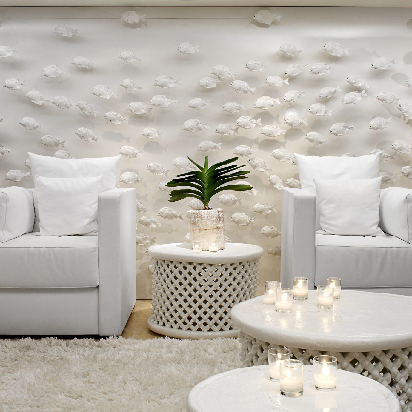 Hip Lounge Luxury Modern white living room wallpaper textile flooring