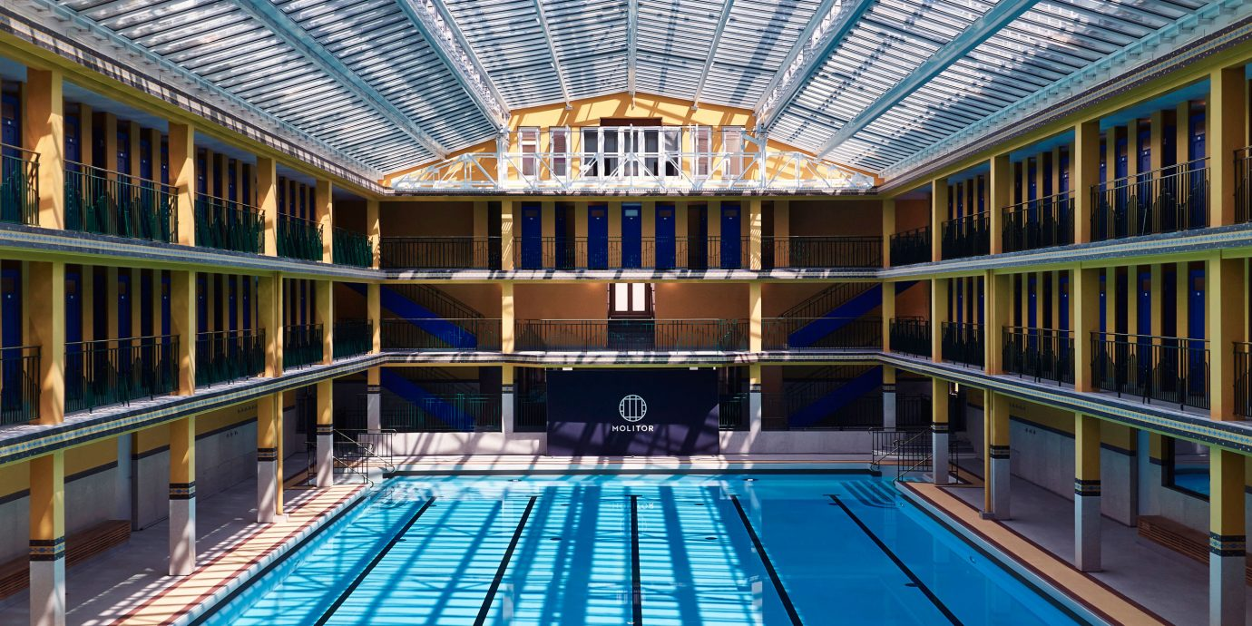 Hip Modern Play Pool building swimming pool leisure structure blue leisure centre sport venue convention center arena