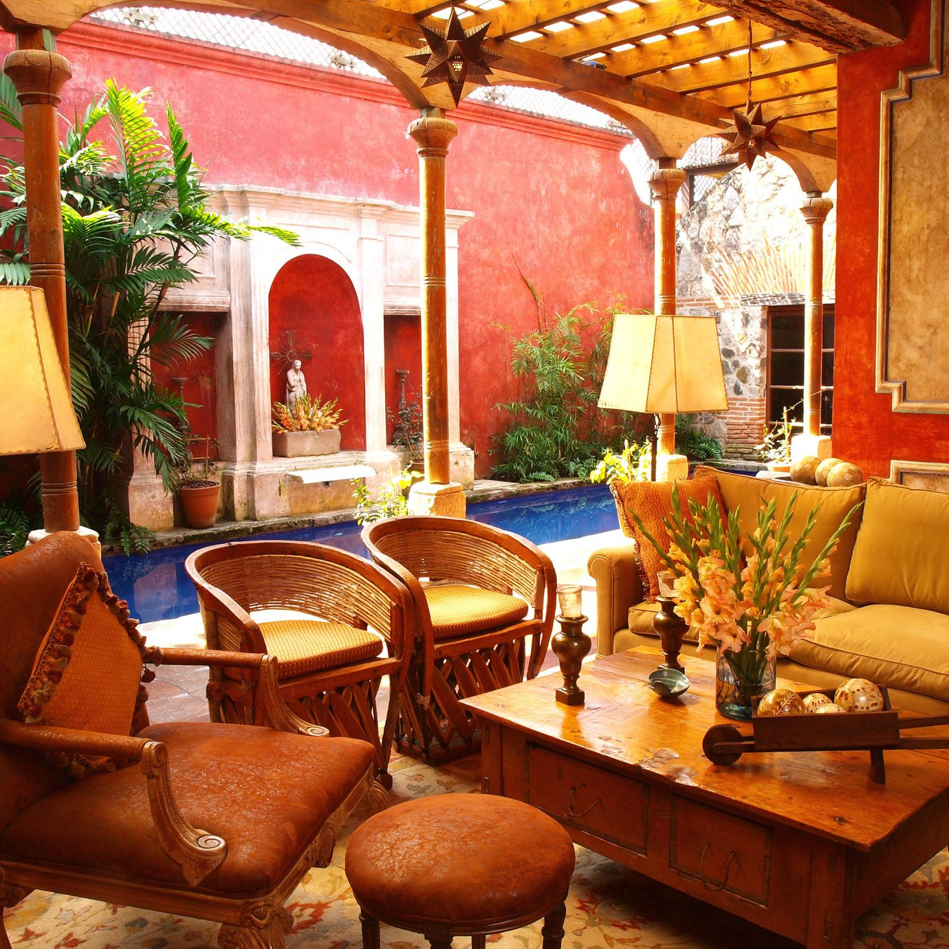Historic Lounge Pool Rustic property living room hacienda home Lobby Villa cottage Resort
