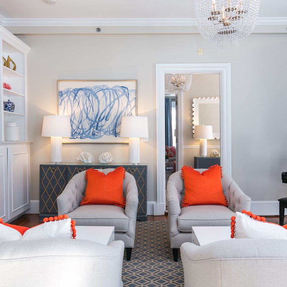 living room home white interior designer orange