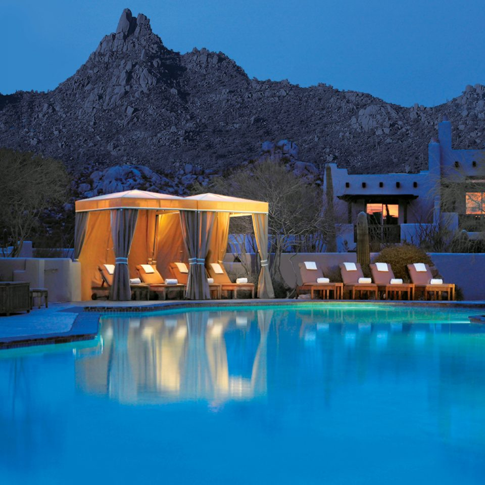 Hotels Jetsetter Guides Lounge Luxury Travel Mountains Pool sky mountain swimming pool Resort house resort town blue