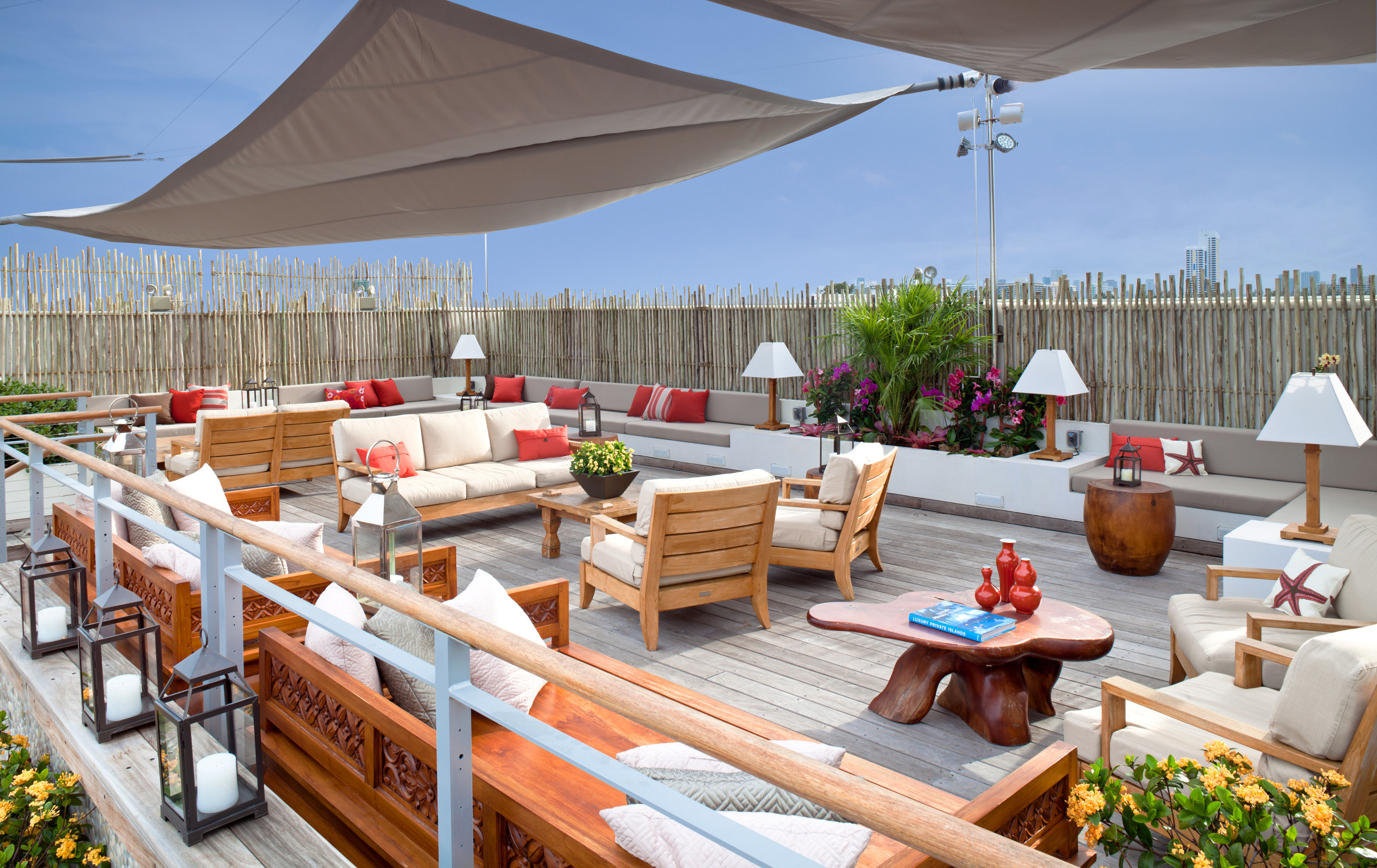 Hotels Lounge Patio Resort Rooftop sky chair wooden cottage outdoor structure Villa
