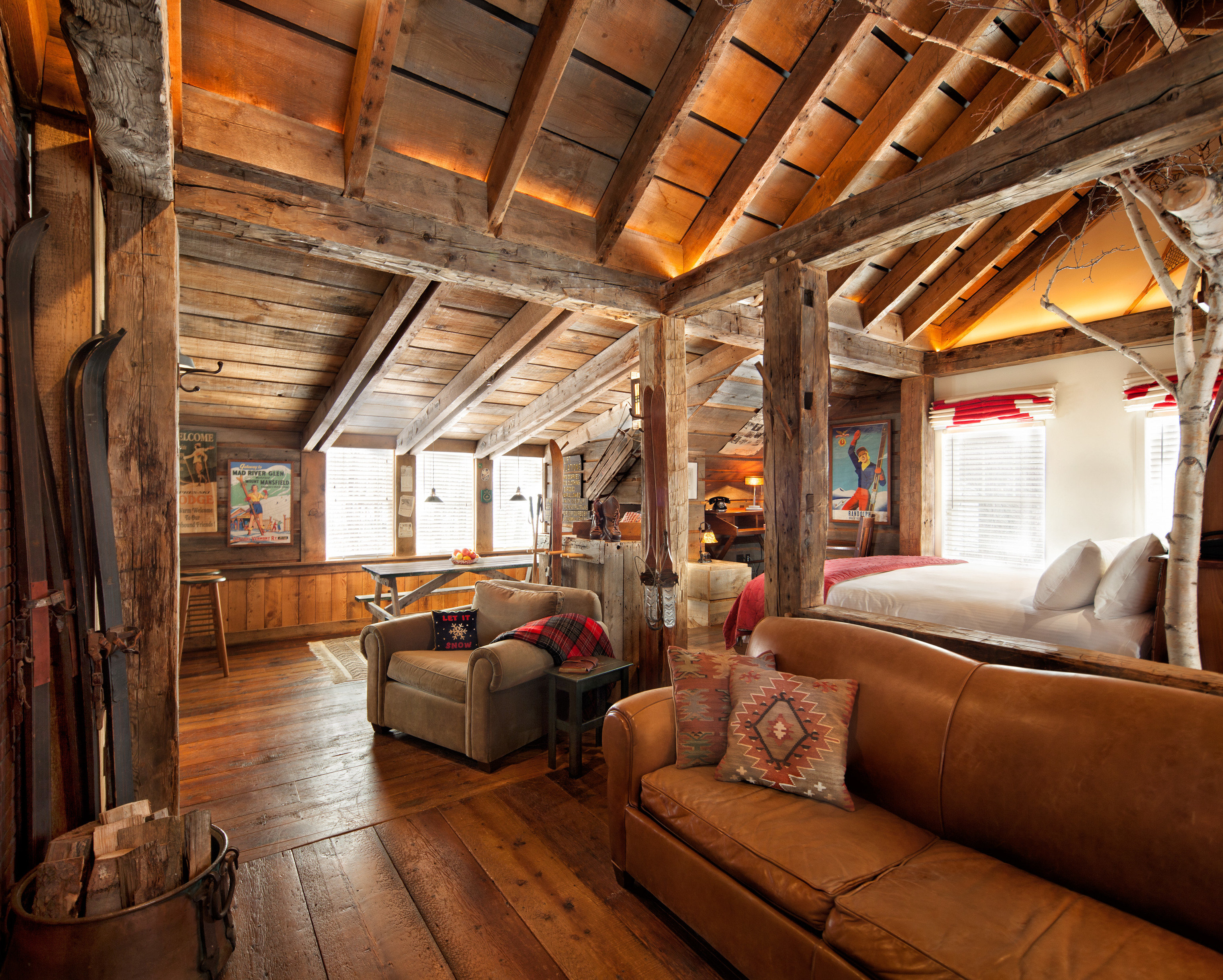 Hotels Romance property log cabin house home living room cottage farmhouse attic