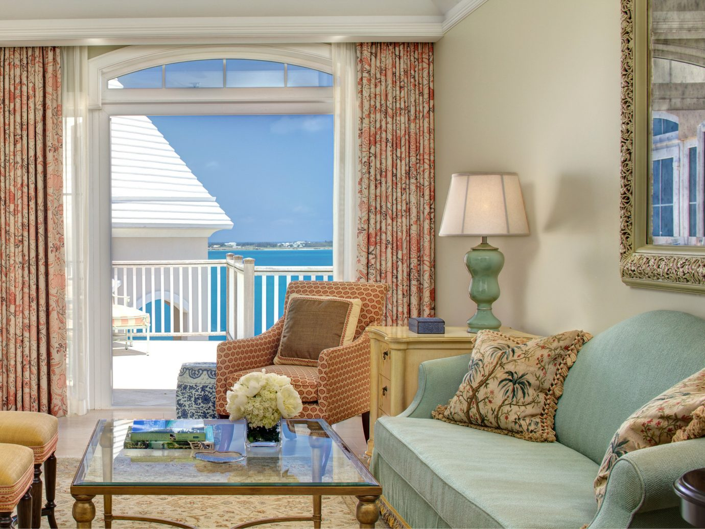 Balcony Beachfront Hotels Island Living Lounge Scenic views Suite Tropical Waterfront indoor window room property living room home interior design cottage estate real estate window covering Bedroom window treatment furniture condominium curtain apartment decorated