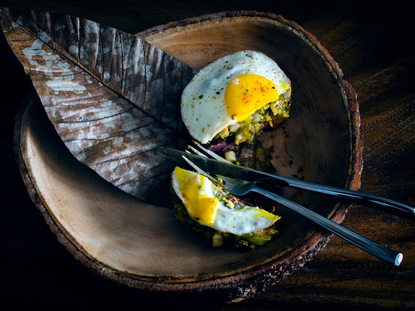 Food + Drink still life photography yellow food dish leaf produce macro photography slice fork egg eaten sliced