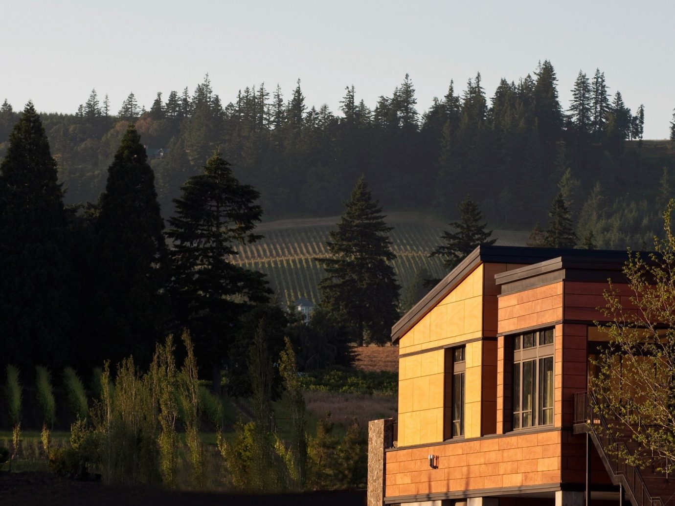 Exterior view of the Allison Inn & Spa in Willamette, Oregon.