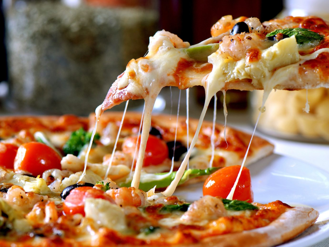 Trip Ideas food dish plate pizza cuisine slice piece italian food hors d oeuvre meal bruschetta european food produce close shrimp toppings fresh square sliced