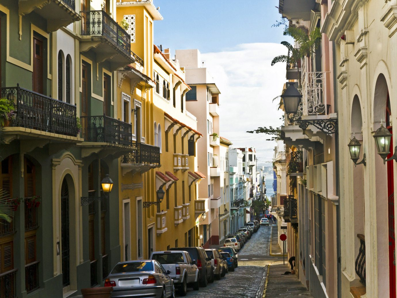 Narrow street in San Juan, Puerto Rico