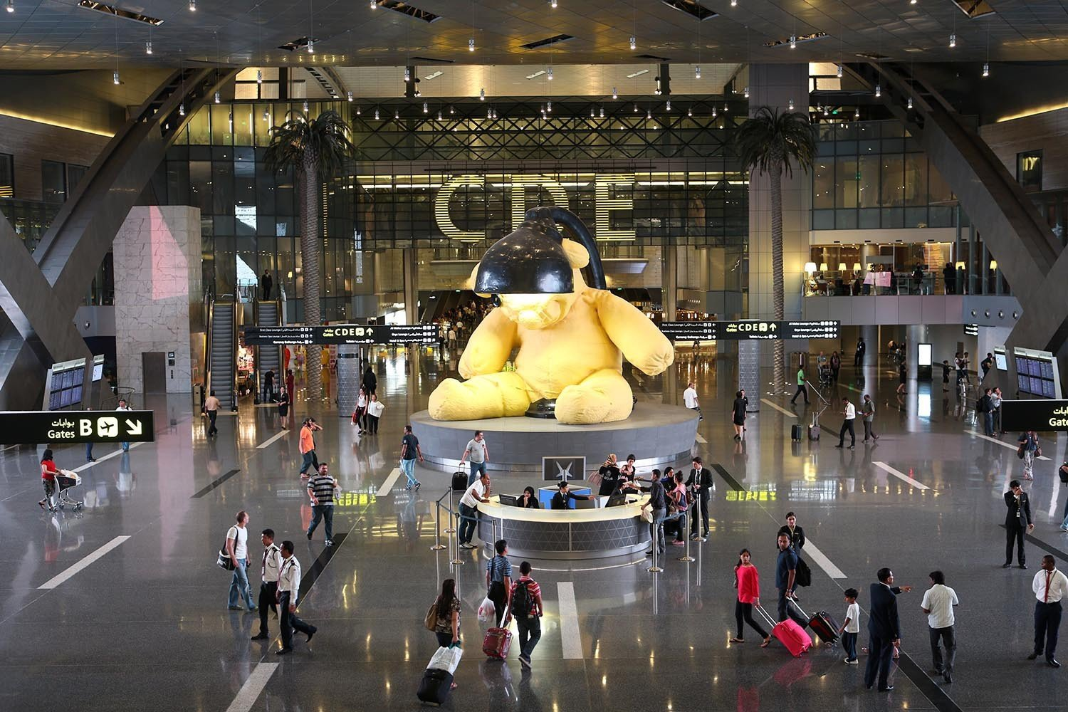 Offbeat indoor shopping mall retail building ceiling infrastructure airport shopping public transport tourist attraction airport terminal plaza several
