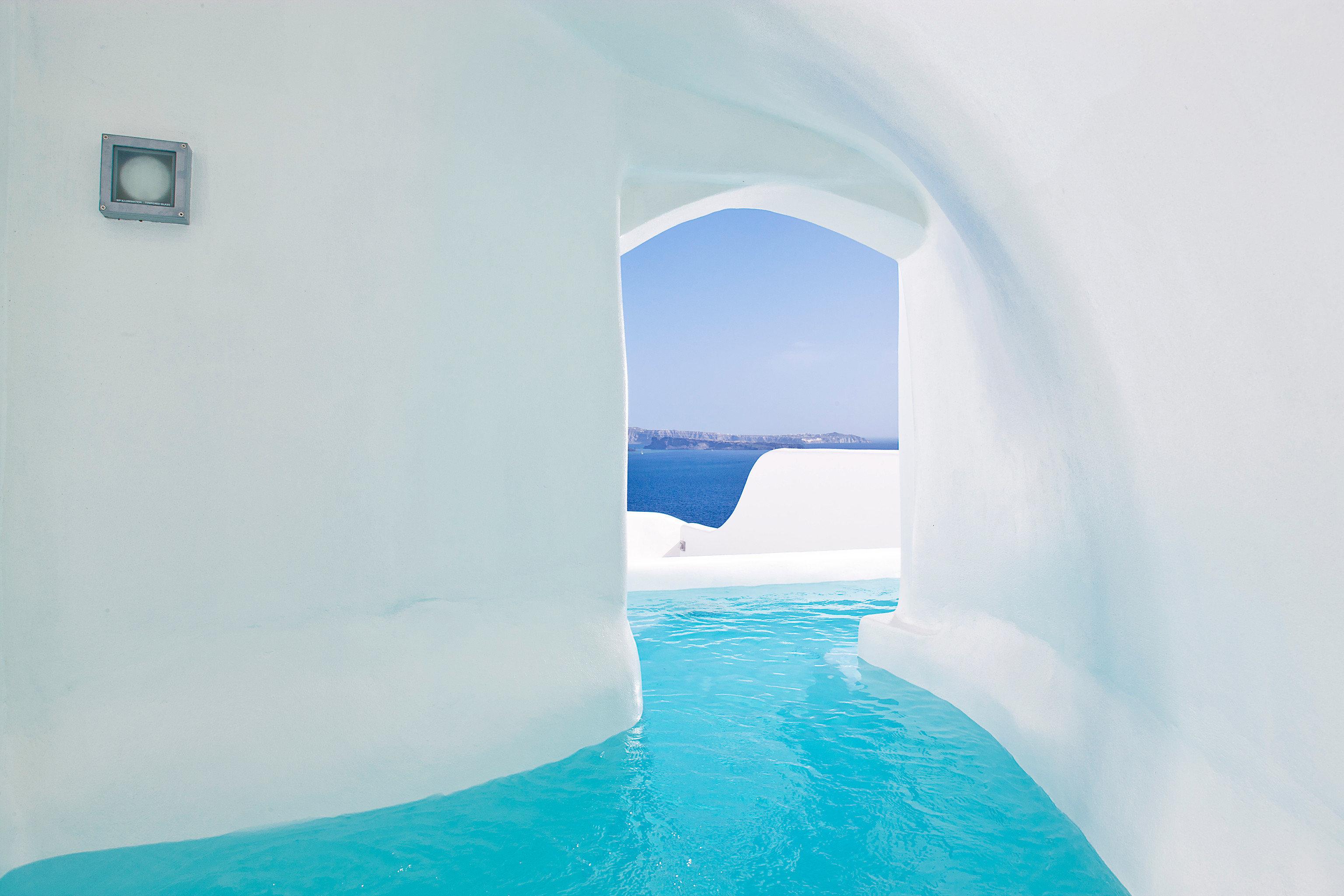 Bedroom Elegant Greece Historic Honeymoon Hot Tub Jacuzzi Hotels Luxury Romance Santorini Waterfront Water