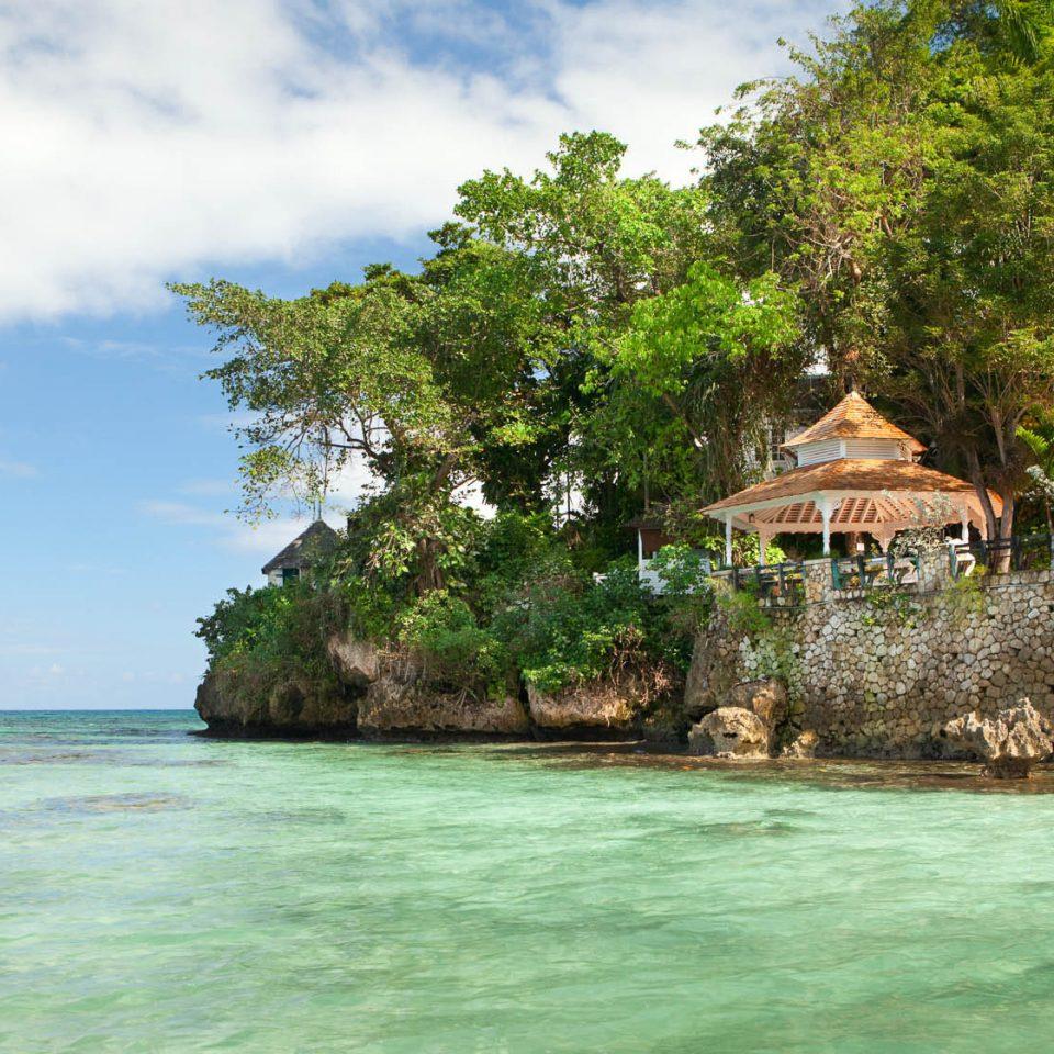 tree water sky house River Nature tropics Sea Jungle Lagoon surrounded shore Island