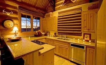 cabinet Kitchen log cabin stove cottage countertop home counter appliance Island