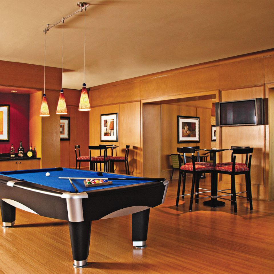Lounge Modern recreation room billiard room Kitchen hardwood basement hard Island