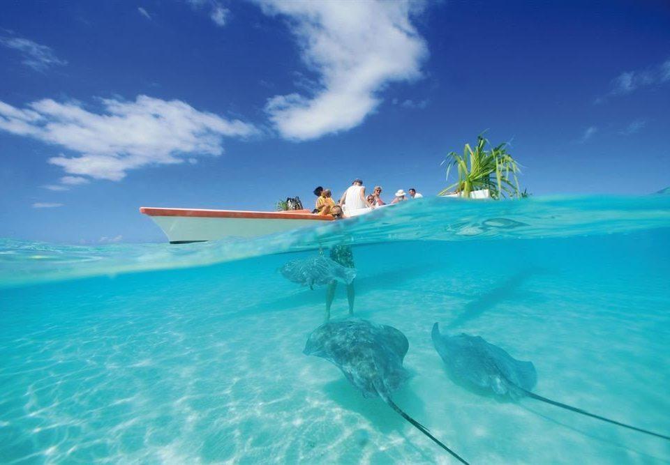 sky water Ocean caribbean Sea atoll Lagoon Island blue swimming day ocean floor