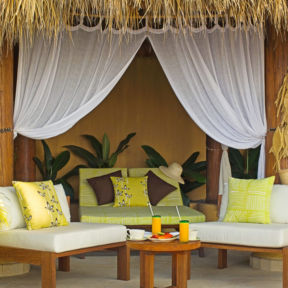 Island Lounge Luxury Patio Romance Romantic curtain yellow living room window treatment textile Suite arranged
