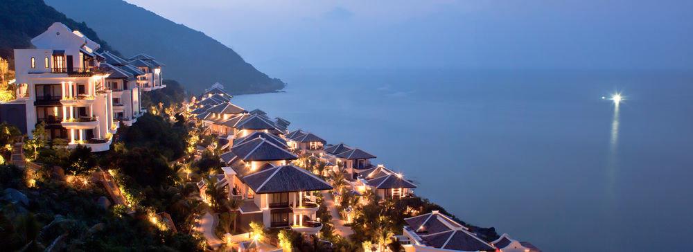 sky water mountain Town night evening mountain range Resort distance day Island