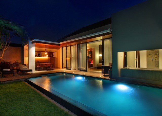 swimming pool property building house Villa home mansion Resort condominium night Island