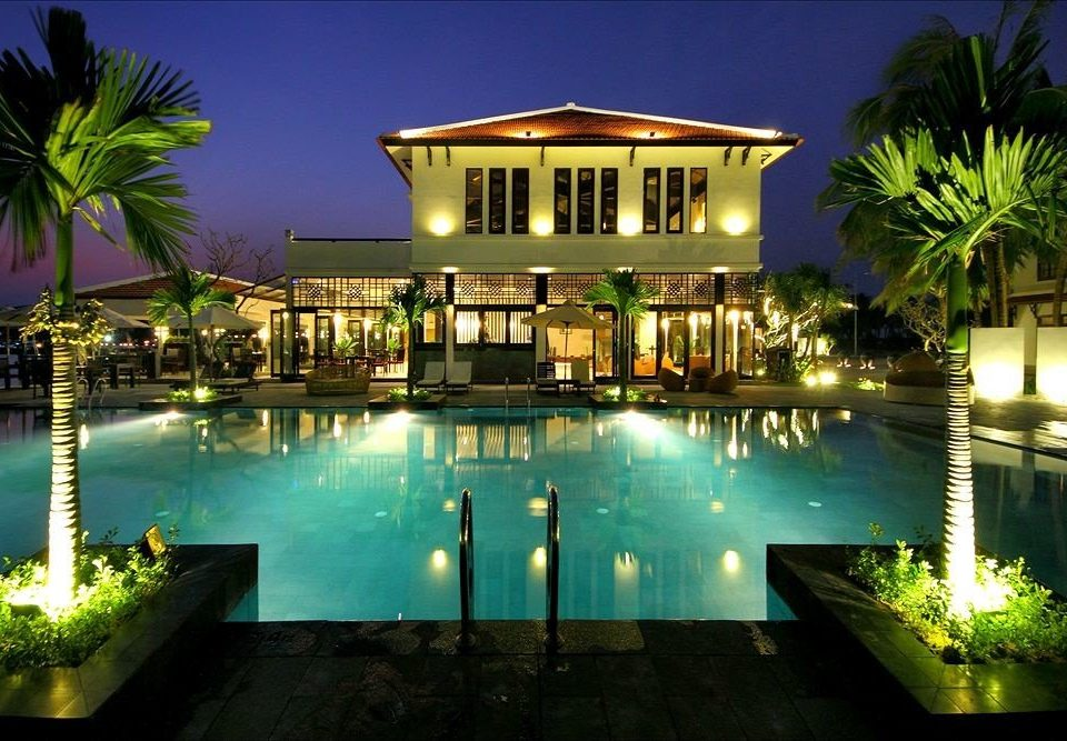 tree swimming pool Resort property leisure condominium light green home plant palm landscape lighting mansion Villa lit night Island