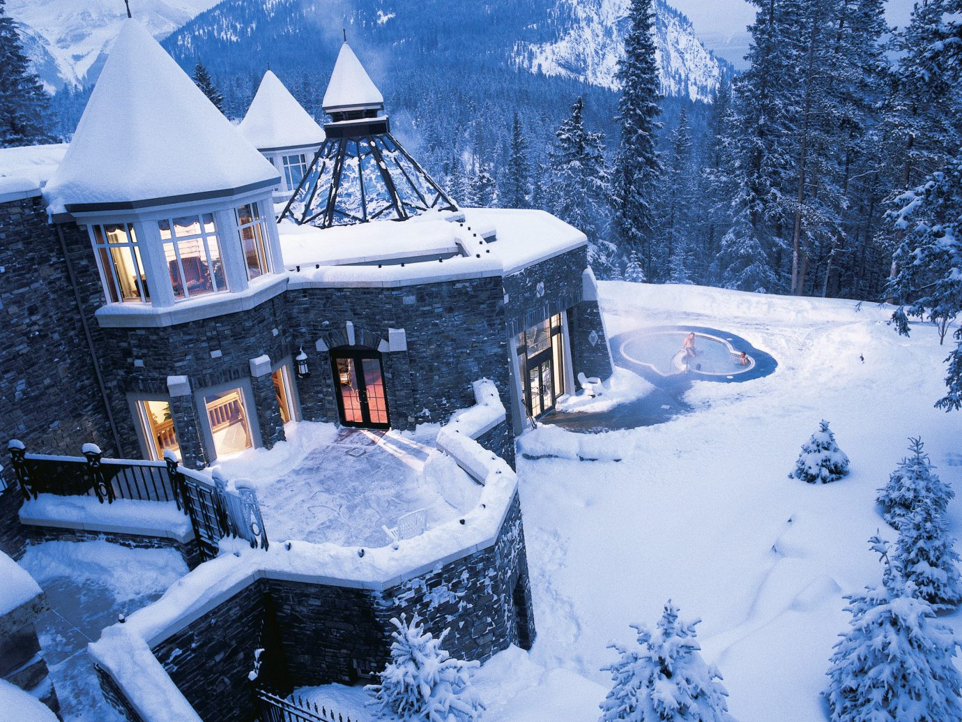 Architecture Buildings Exterior Health + Wellness Hotels Mountains Outdoors Resort Scenic views Spa Retreats Trip Ideas snow outdoor tree sky Winter Nature weather season mountain freezing blizzard