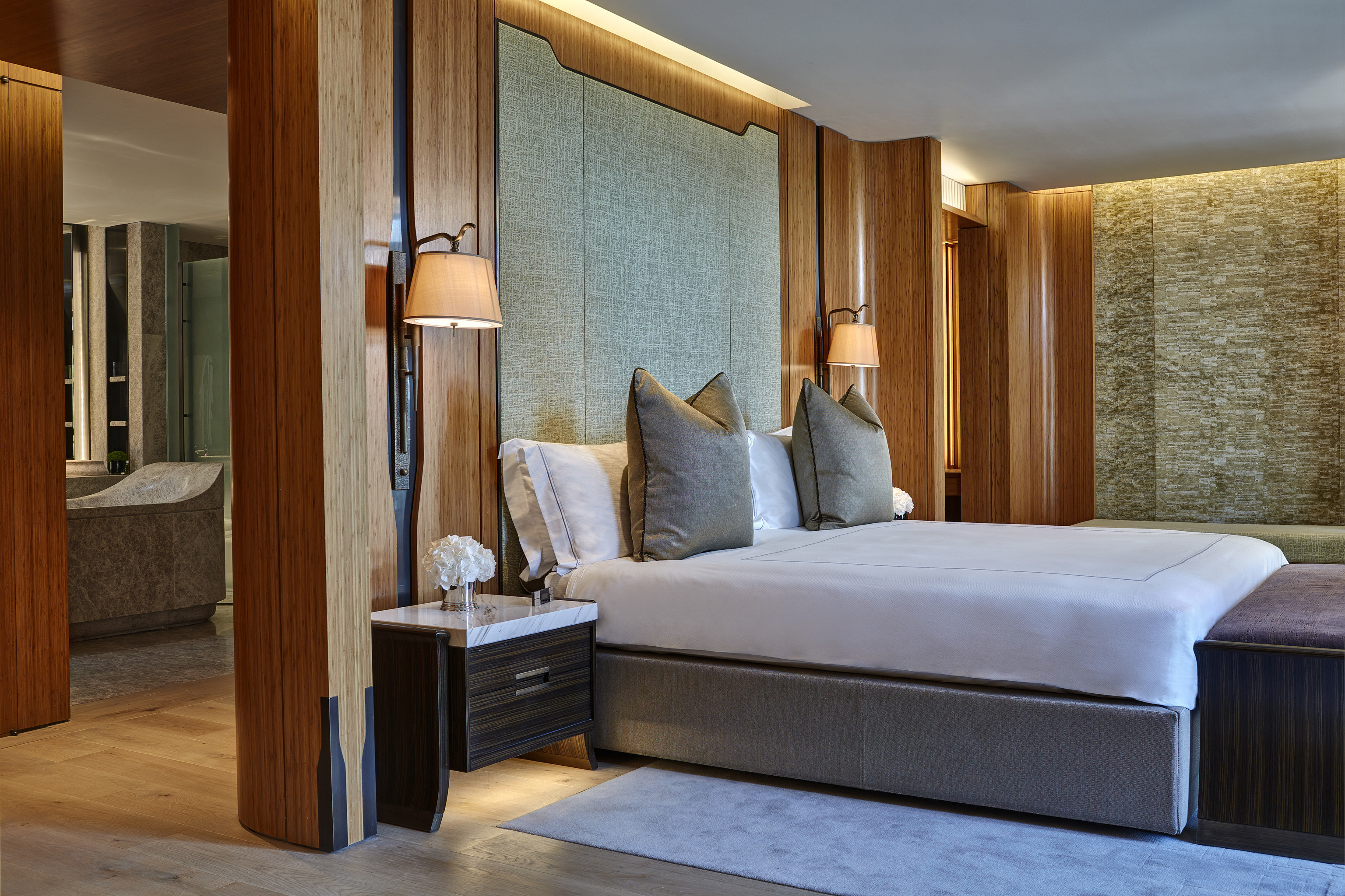 Hotels Luxury Travel indoor floor bed wall room bed frame Suite interior design Bedroom furniture hotel ceiling wood mattress interior designer bed sheet