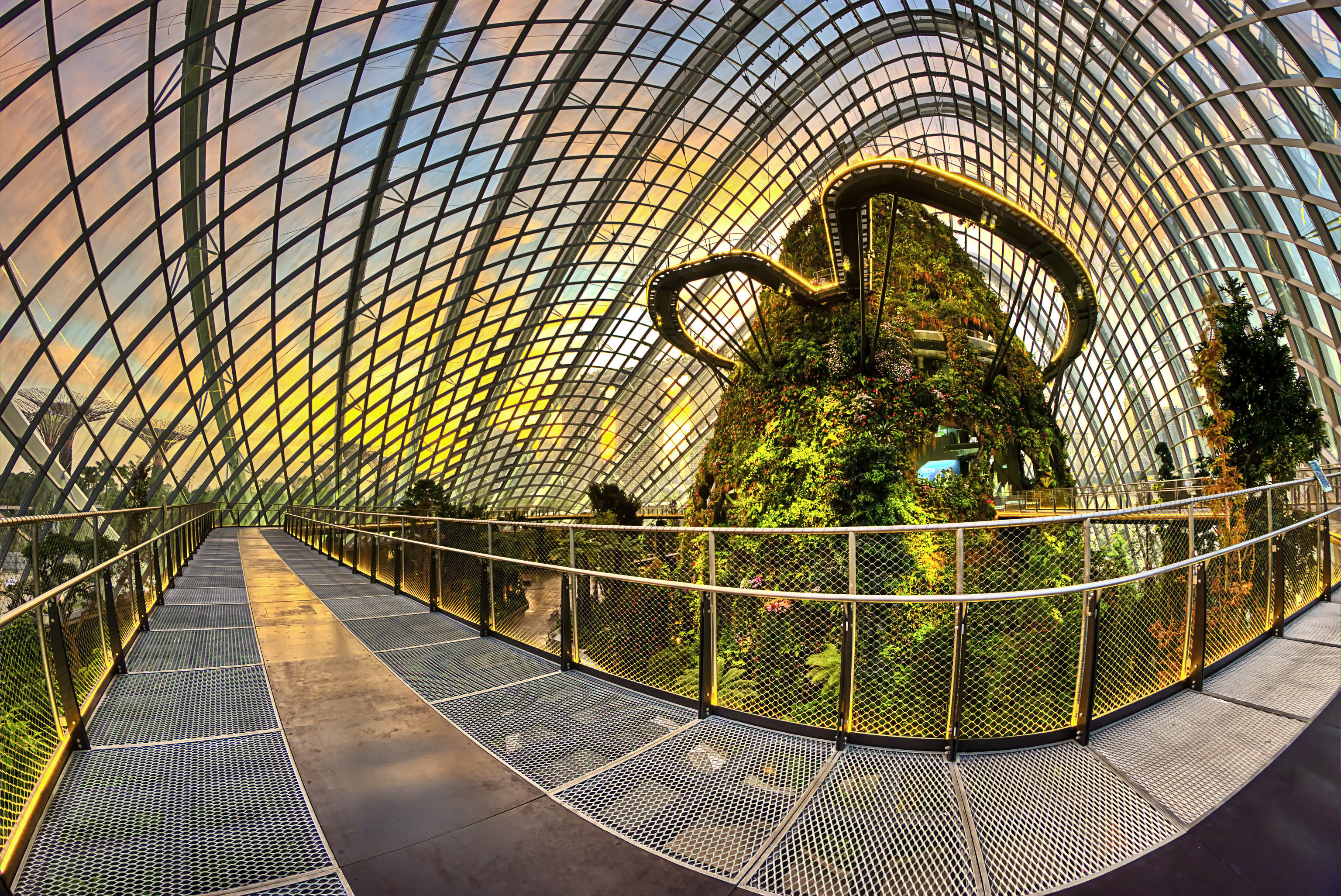 Offbeat Singapore Trip Ideas platform building metal rail urban area Architecture symmetry arch stair net subway railing walkway