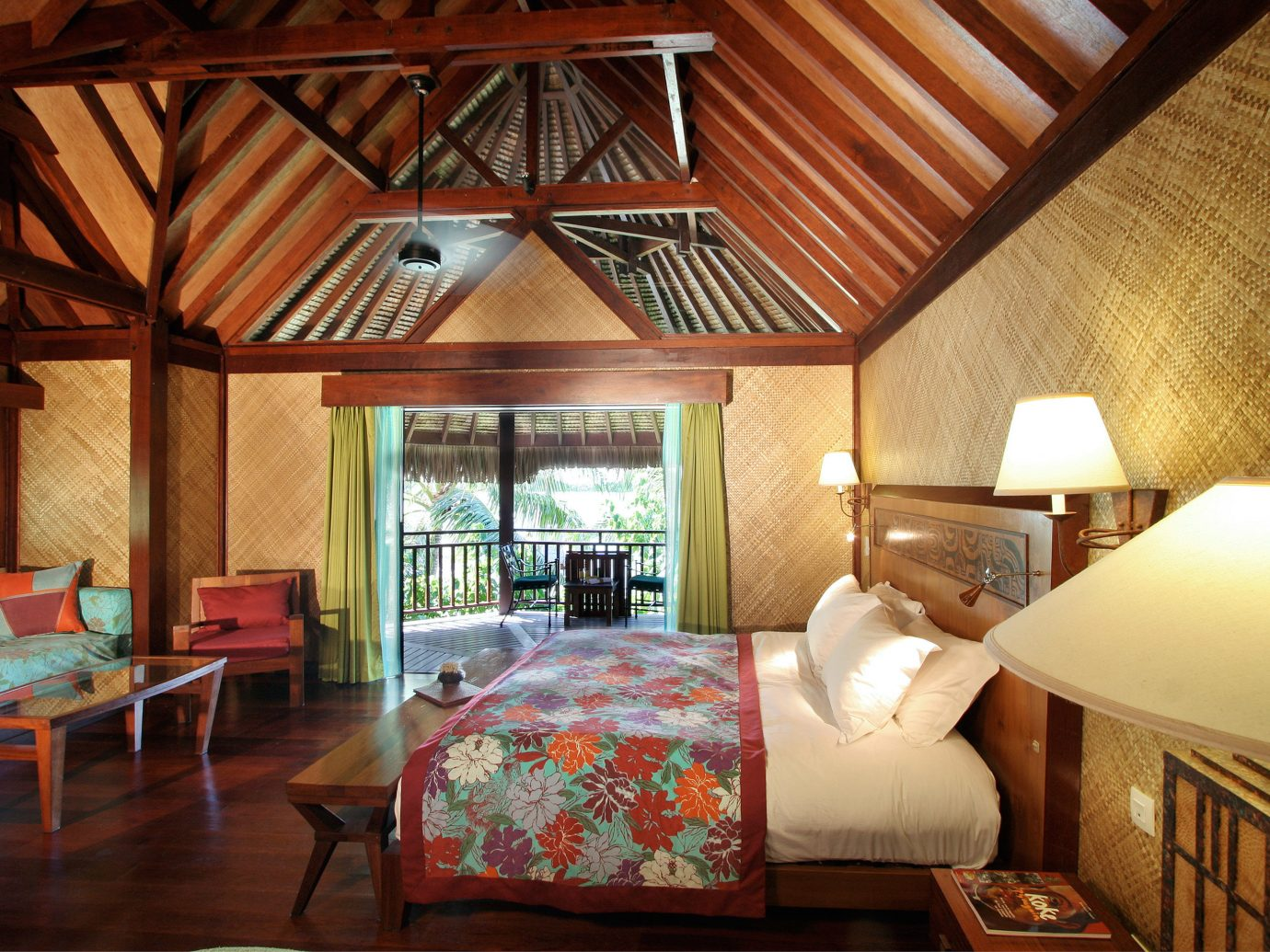 Balcony Bedroom Deck Hotels Living Overwater Bungalow Patio Resort Scenic views indoor floor room bed property estate building house cottage living room home wooden farmhouse interior design real estate Villa Suite hotel ceiling wood area furniture