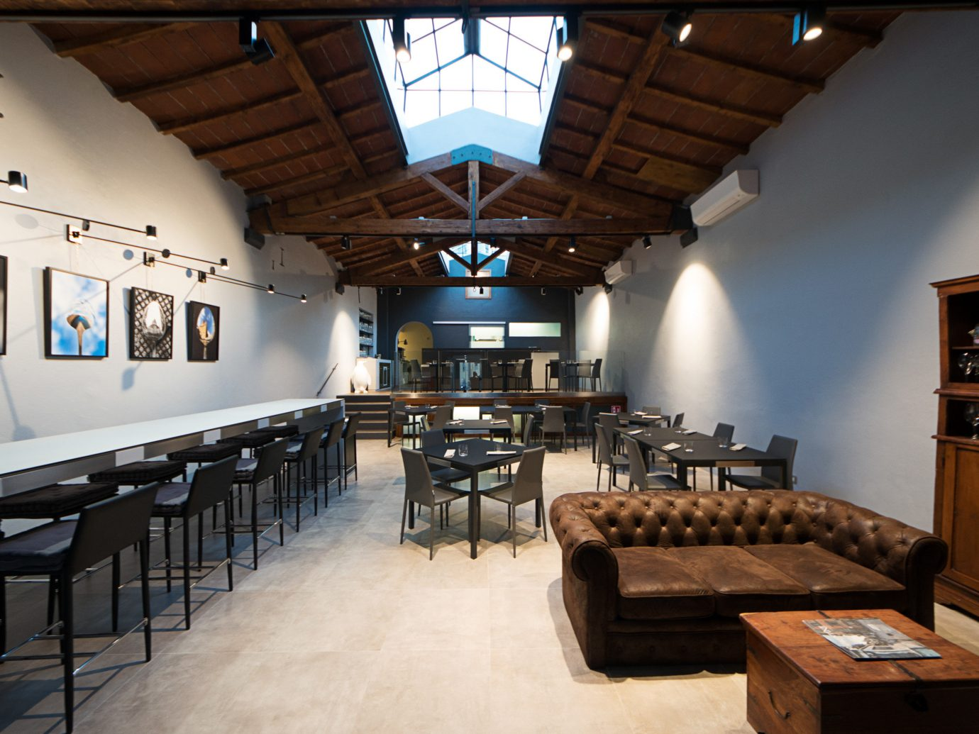 Food + Drink indoor floor ceiling room interior design estate restaurant Design furniture several dining room