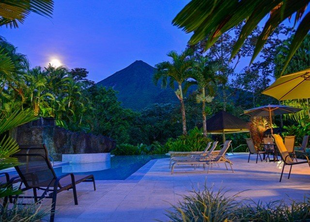 tree swimming pool leisure Resort caribbean Villa eco hotel Jungle backyard landscape lighting palm lined