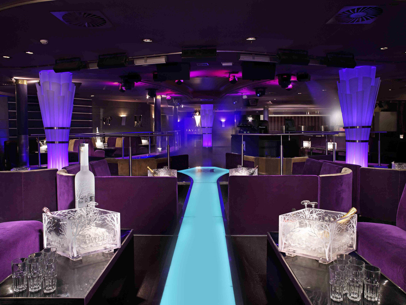 Bar Drink Eat Hip Lounge Travel Trends Trip Ideas indoor ceiling purple function hall meal nightclub banquet wedding reception ballroom colored several