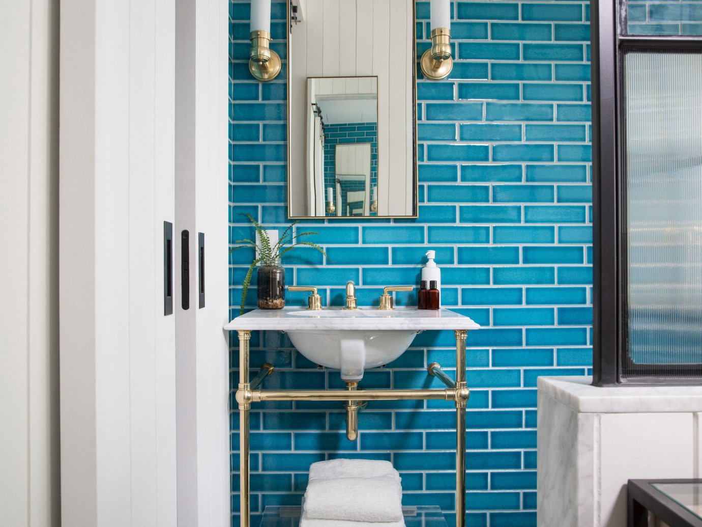 Trip Ideas wall indoor blue room bathroom home interior design window covering window Design apartment tiled