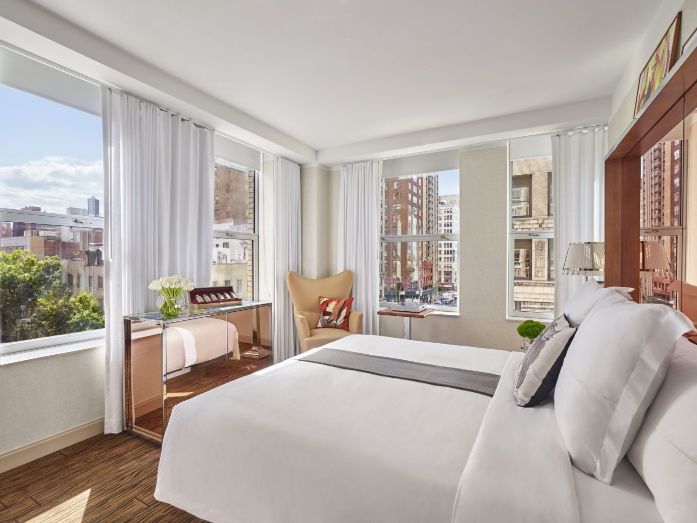 NYC Trip Ideas indoor window sofa wall floor room ceiling bed property interior design hotel Living real estate bed frame Bedroom Suite home white estate window treatment window covering pillow interior designer penthouse apartment furniture apartment decorated Modern