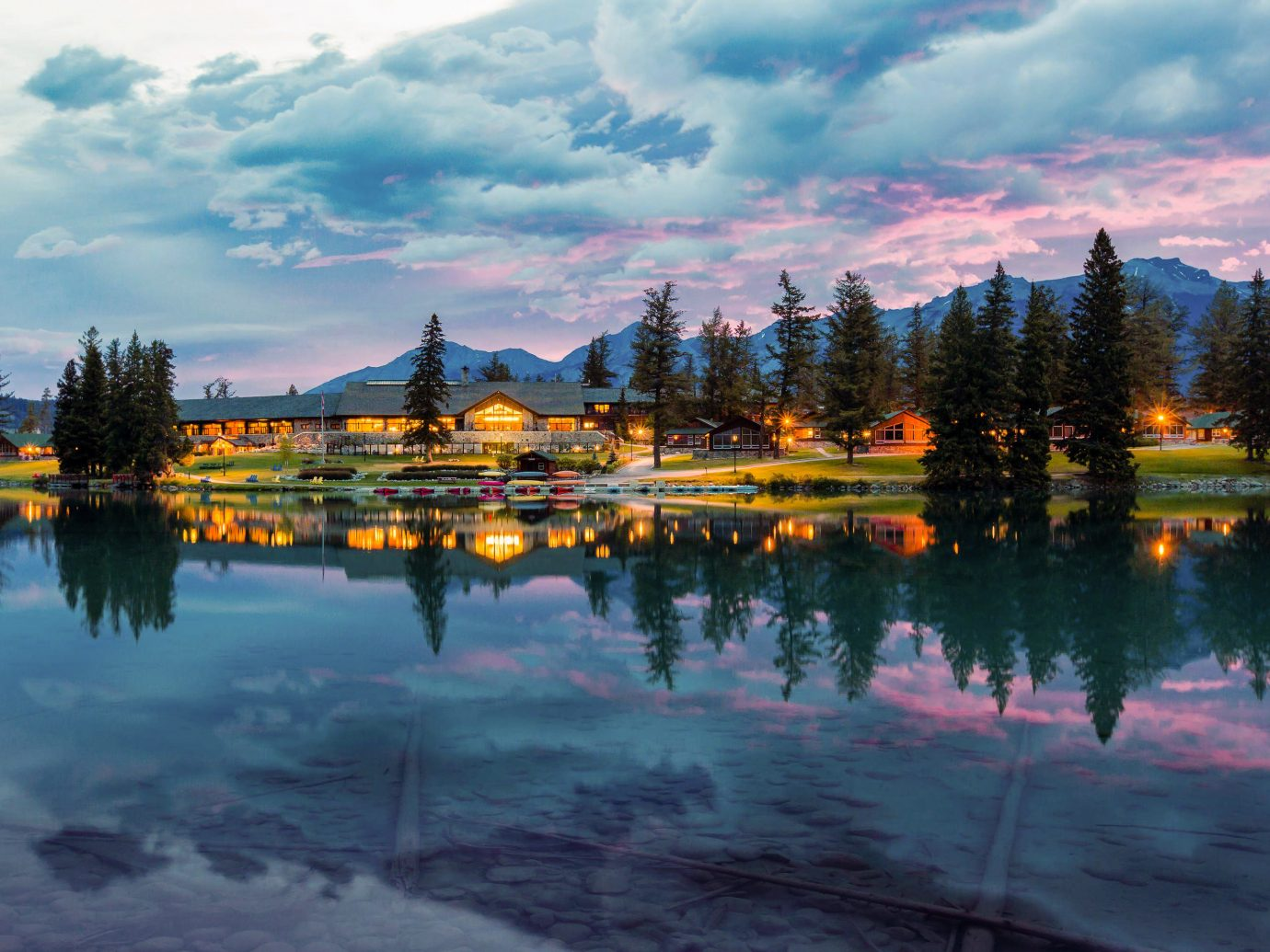 Alberta Boutique Hotels Canada Road Trips Reflection Nature Sky Water Lake Tree Cloud Mountain Evening