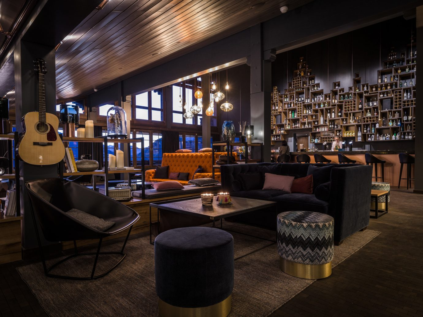 Boutique Hotels Hotels Outdoors + Adventure Winter indoor ceiling floor window room interior design restaurant Bar furniture table area