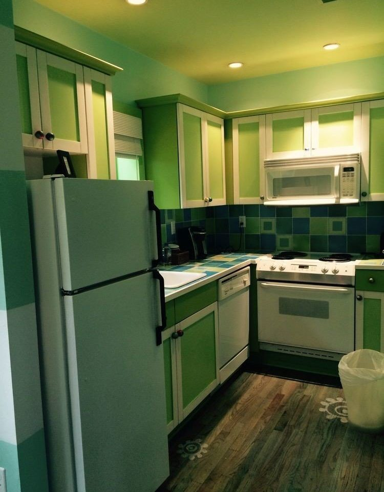 green Kitchen property home cabinetry appliance