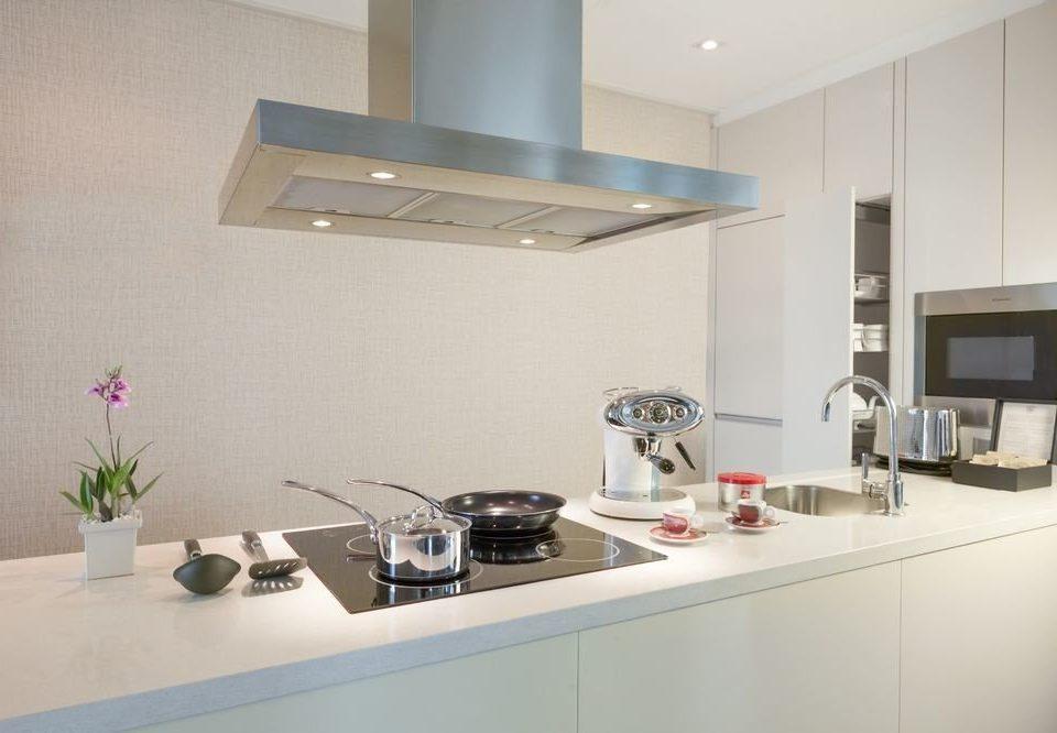 Kitchen property home lighting counter countertop condominium flooring loft living room appliance