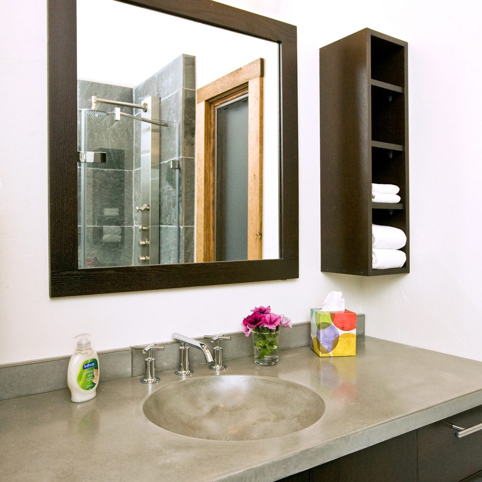 bathroom mirror sink cabinetry home Kitchen bathroom cabinet counter