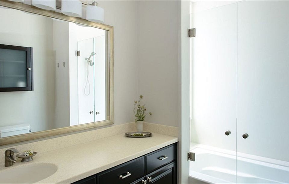 bathroom property mirror sink home white bathroom cabinet flooring Kitchen
