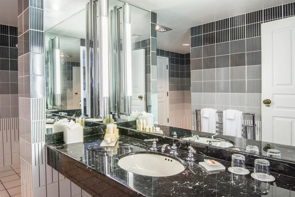 bathroom sink property condominium home Kitchen countertop toilet flooring glass material mansion tile tiled bathtub