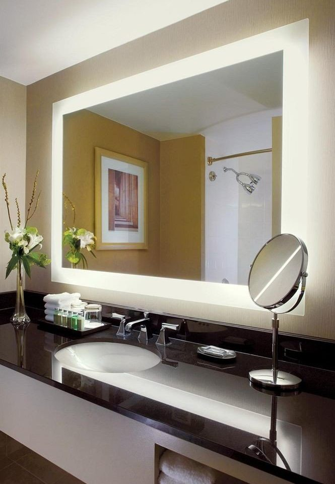 bathroom mirror property sink home living room lighting Kitchen countertop condominium cabinetry